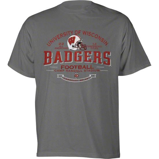 Wisconsin Badgers Football Title & Bowl Vintage Design Charcoal T-Shirt