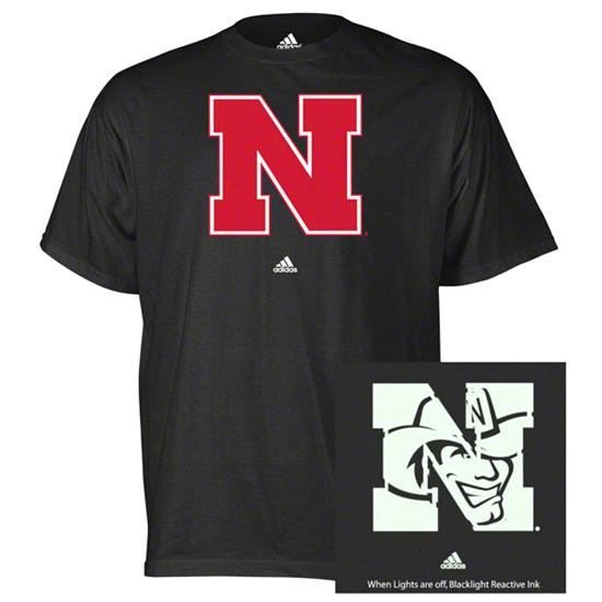 Nebraska Cornhuskers adidas Black X-Ray Blacklight Reactive T-Shirt