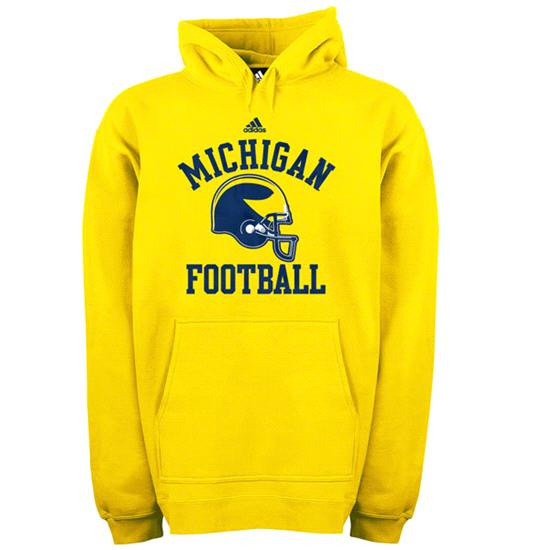 Michigan Wolverines adidas Gold Football Helmet Patch Hooded Sweatshirt