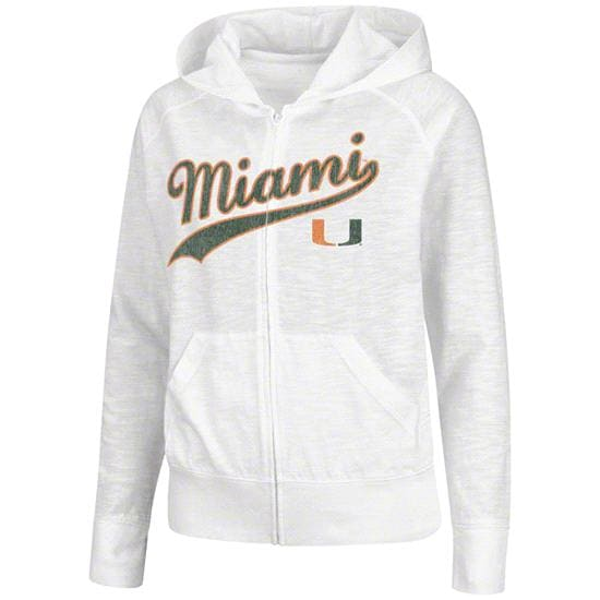 Miami Hurricanes Women's White Twist Full-Zip Long Sleeve T-Shirt