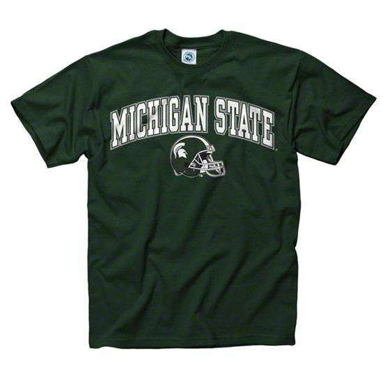Michigan State Spartans Green Football Helmet T-Shirt