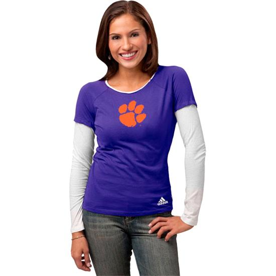 Clemson Tigers Women's adidas 'Loud & Proud' Long Sleeve Layered Tissue Tee