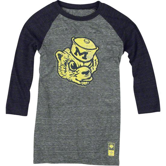 Michigan Wolverines adidas Originals Women's Vintage Mascot 3/4 Sleeve Tri-Blend T-Shirt