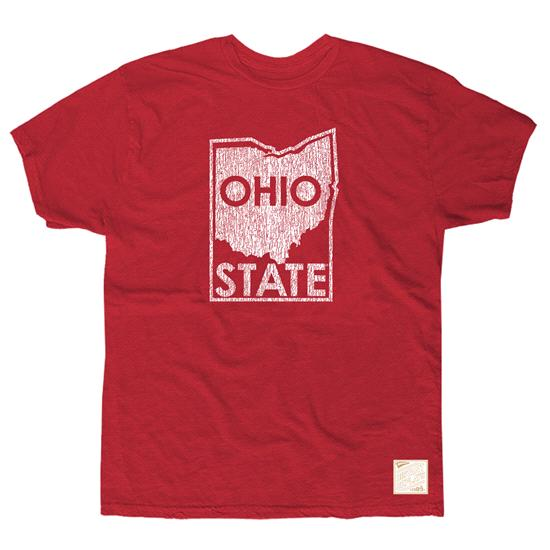 Ohio State Buckeyes Deep Red Retro Brand State Map Vintage Slub Knit T-Shirt