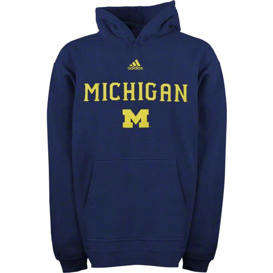 Michigan Wolverines Youth adidas Navy 2011 Football Sideline Hooded Sweatshirt