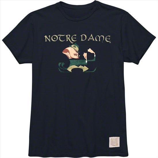 Notre Dame Fighting Irish Original Retro Brand Navy Irish Celtic Font Vintage Wash T-Shirt