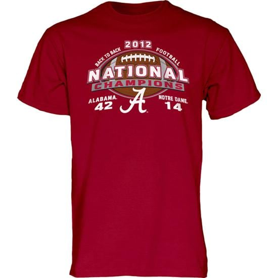 Alabama Crimson Tide 2012 BCS National Champions Final Score T-Shirt - Cardinal