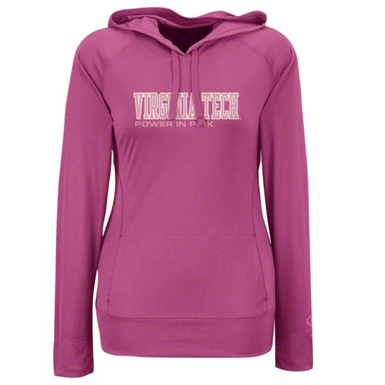 Virginia Tech Hokies Women's Under Armour Performance Pink Breast Cancer Awareness Catalyst Hooded Sweatshirt