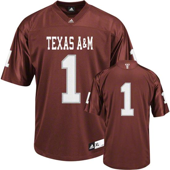 Texas A&M Aggies Youth Football Jersey: Youth Maroon #1 adidas Replica Football Jersey