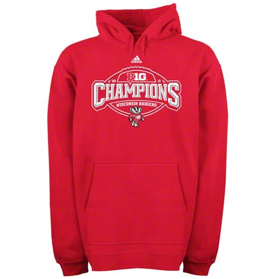 Wisconsin Badgers Red adidas Big 10 Football Conference Crown Champions Hooded Sweatshirt