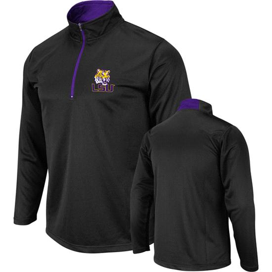 LSU Tigers Black Mako 1/4 Zip Lightweight Long Sleeve T-Shirt