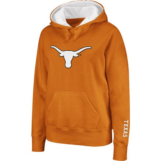 Texas Longhorns Women's Dark Orange Twill Victory Lap Hooded Sweatshirt