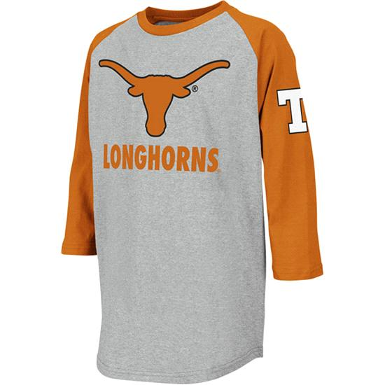 Texas Longhorns Youth Ball Park 3/4 Sleeve T-Shirt