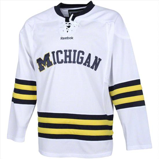 Michigan Wolverines White Reebok Edge Premier Hockey Jersey