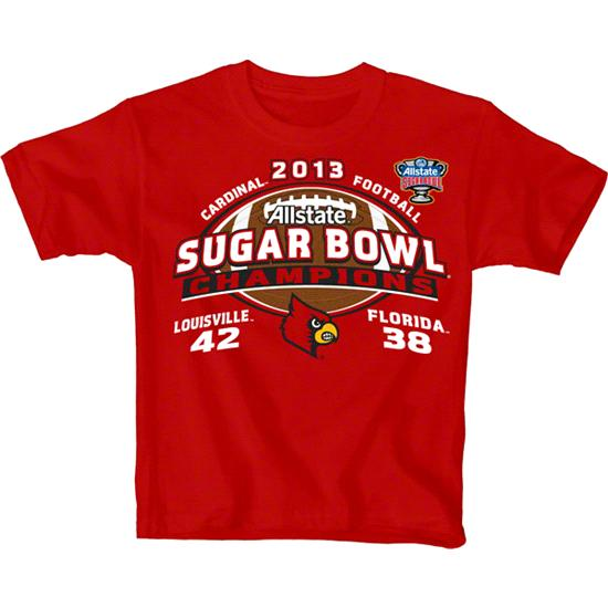 Louisville Cardinals Youth Red 2013 Sugar Bowl Champions Score T-Shirt