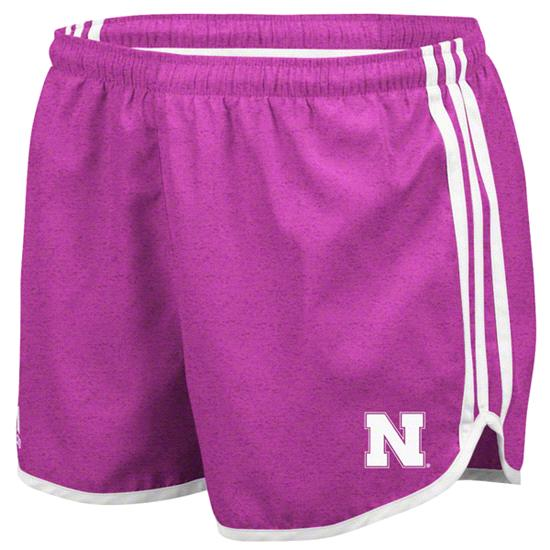 Nebraska Cornhuskers adidas Heathered Pink Women's 3-Stripe Princess Shorts