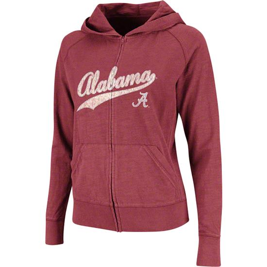 Alabama Crimson Tide Women's Cardinal Twist Long Sleeve Full-Zip Hooded Slub T-Shirt