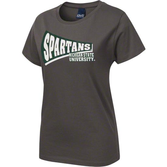 Michigan State Spartans Women's Charcoal Slant Rays T-Shirt