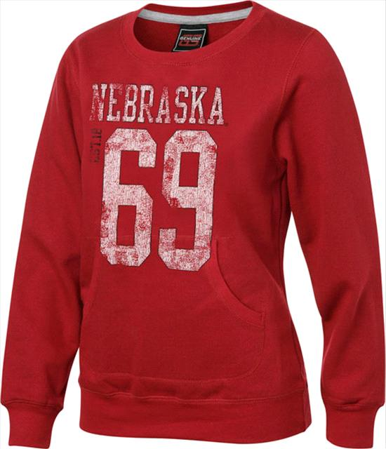 Nebraska Cornhuskers adidas Youth Girls Red Scoop Neck Crewneck Sweatshirt