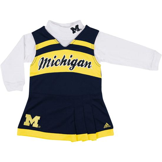 Michigan Wolverines adidas Navy Toddler Girls Cheerleader Jumper Dress and Turtle Neck