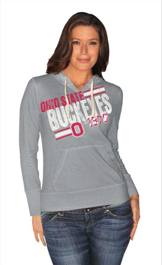 Ohio State Buckeyes Women's White 2 Deep Hooded Sweatshirt