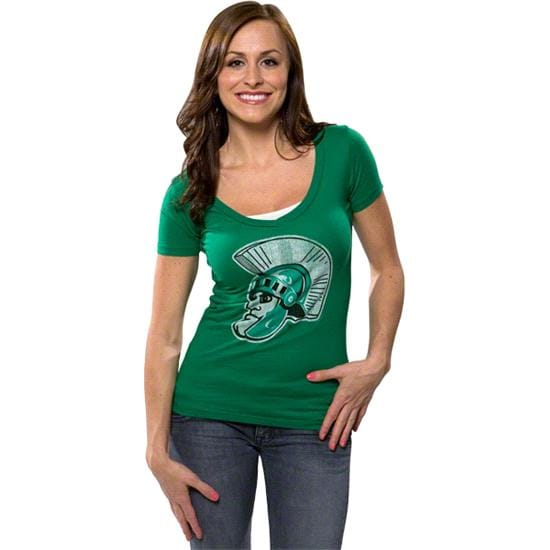 Michigan State Spartans Women's Green Retro Brand Vintage Sparty Deep V-neck T-Shirt