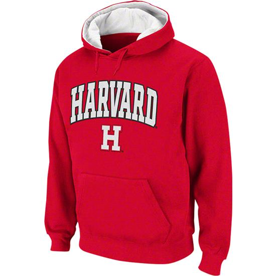 Harvard Crimson Arched Tackle Twill Hooded Sweatshirt