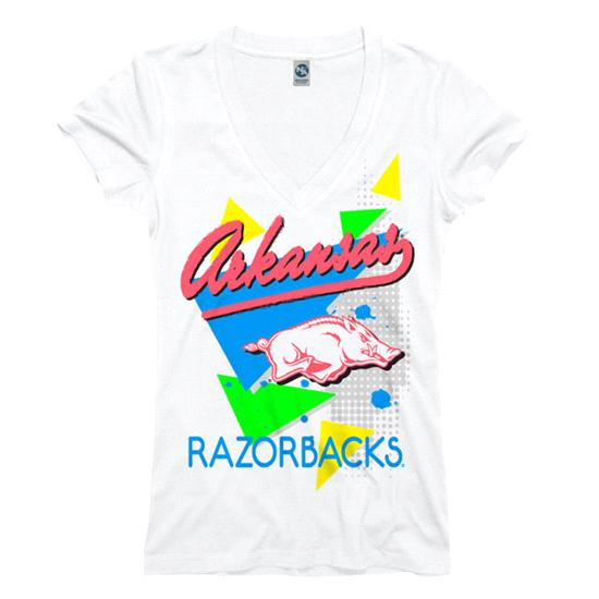 Arkansas Razorbacks Women's White Bayside Neon Ring Spun V-Neck T-Shirt