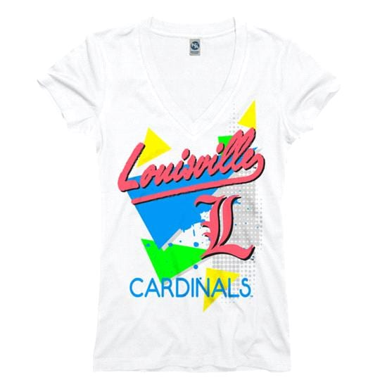 Louisville Cardinals Women's White Bayside Neon Ring Spun V-Neck T-Shirt