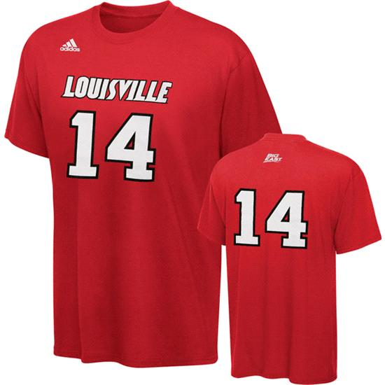 Louisville Cardinals adidas 2011-2012 Red #14 Basketball Player T-Shirt