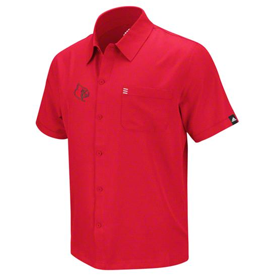 Louisville Cardinals Red adidas Tonal Logo Button Down T-Shirt