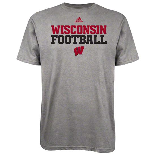 Wisconsin Badgers Grey adidas 2012 Football Practice T-Shirt