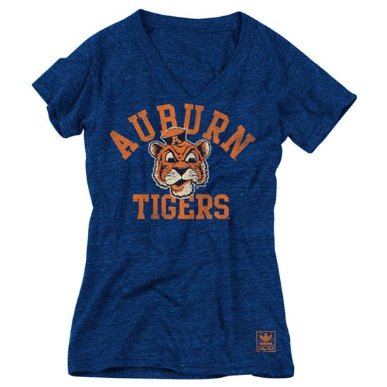 Auburn Tigers Women's Heather Navy adidas Originals Her Homecoming Tri-Blend V-Neck T-Shirt