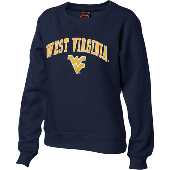 West Virginia Mountaineers Women's Navy Tackle Twill Crewneck Sweatshirt