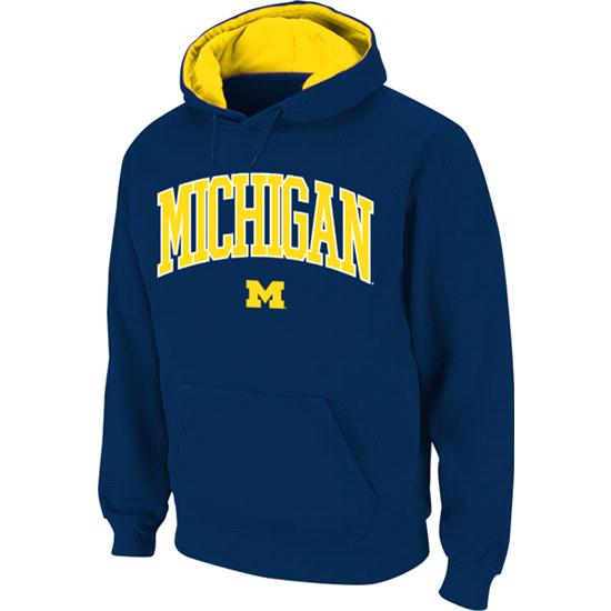 Michigan Wolverines Navy Twill Arch Hooded Sweatshirt