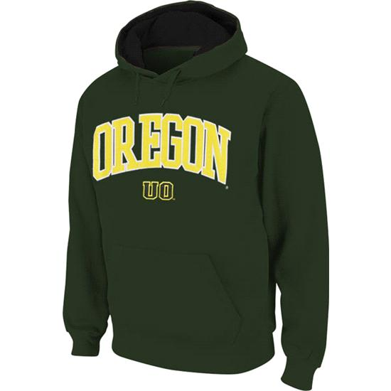 Oregon Ducks Dark Green Twill Arch Hooded Sweatshirt