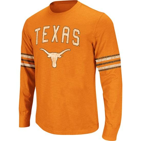 Texas Longhorns Dark Orange Tackle Long Sleeve Slub Knit T-Shirt