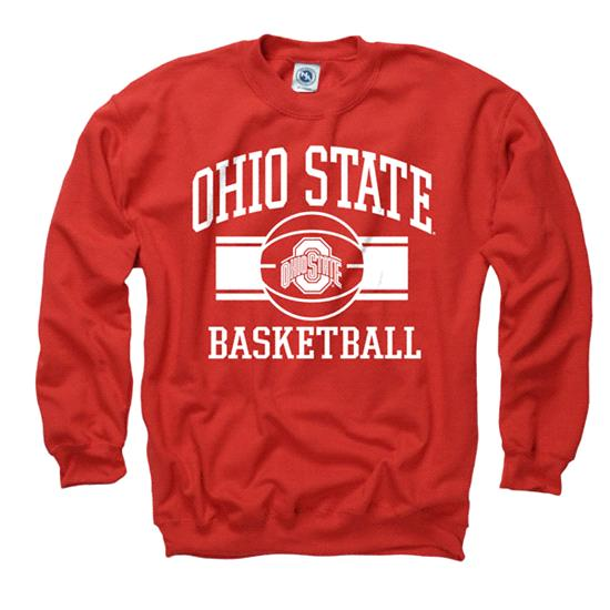 Ohio State Buckeyes Red Wide Stripe Basketball Crewneck Sweatshirt