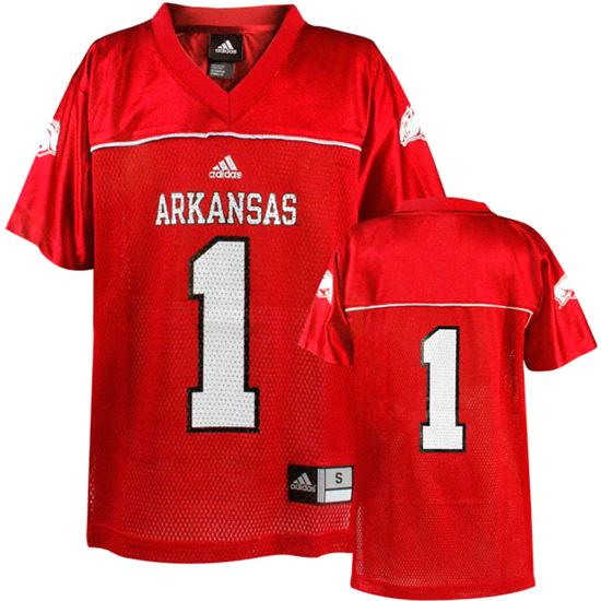 Arkansas Razorbacks Youth -No. 1- Replica Chase Football Jersey