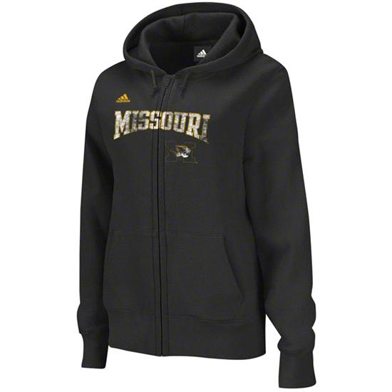 Missouri Tigers adidas Black Women's Primary Logo Full-Zip Hooded Sweatshirt