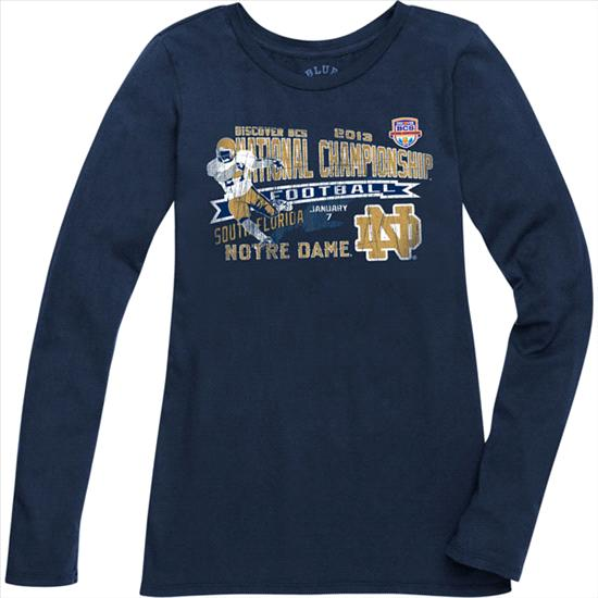 Notre Dame Fighting Irish Women's BCS National Championship Game Open Field Long Sleeve T-Shirt