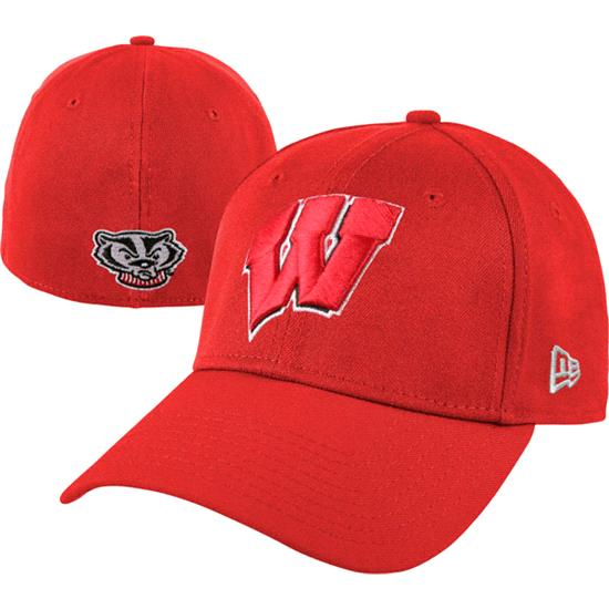 Wisconsin Badgers New Era Red 39THIRTY Classic Flex Hat