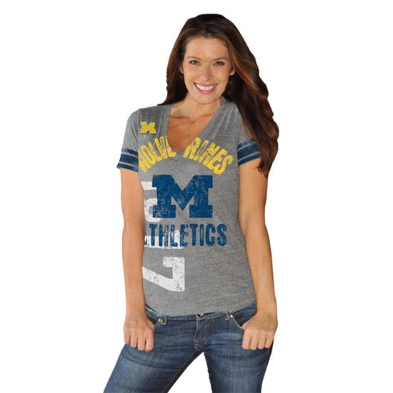 Michigan Wolverines Women's Navy Big Play Tri-Blend Deep V-Neck T-Shirt