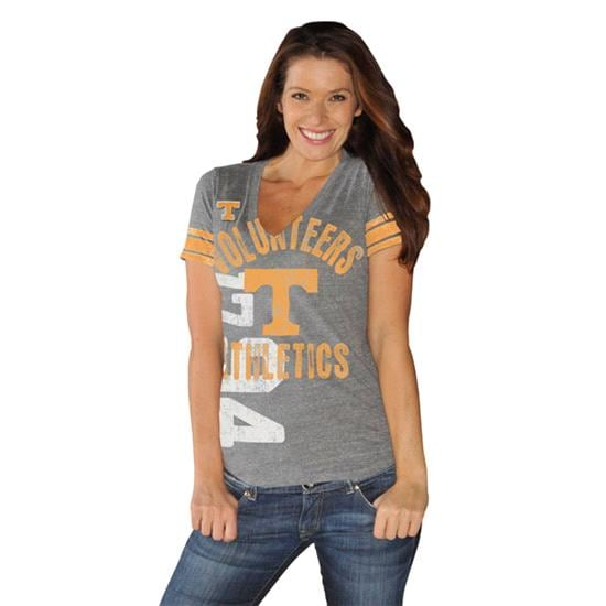 Tennessee Volunteers Women's Tn Orange Big Play Tri-Blend Deep V-Neck T-Shirt