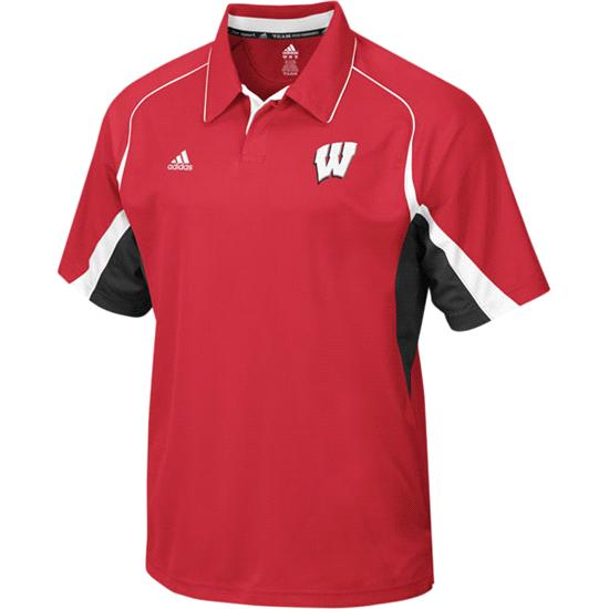 Wisconsin Badgers Polo: adidas Big Game Coaches Sideline Polo