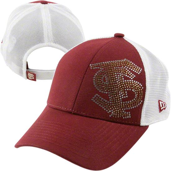Florida State Seminoles Women's New Era Jersey Shimmer Adjustable Trucker Mesh Hat