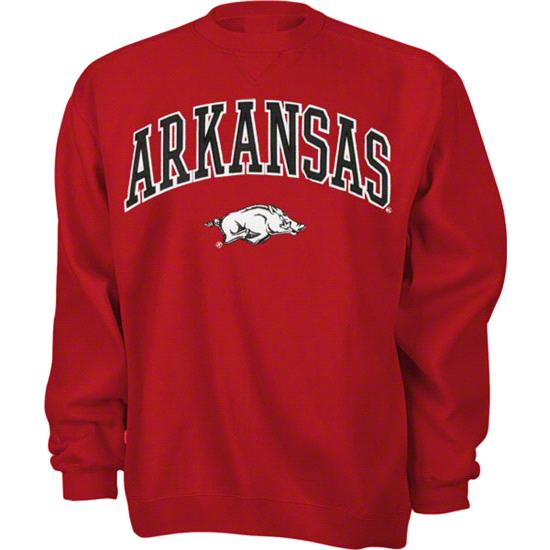 Arkansas Razorbacks Cardinal Tackle Twill Crewneck Sweatshirt