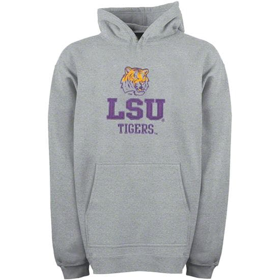 LSU Tigers Youth Grey Tackle Twill Hooded Sweatshirt