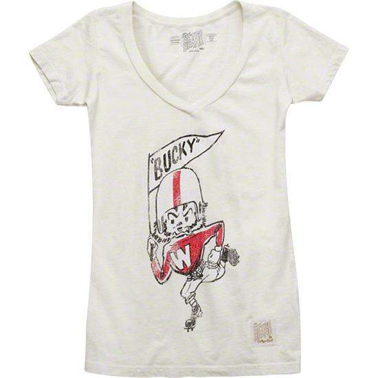 Wisconsin Badgers Off White Run Through The Quad Tri-Blend T-Shirt