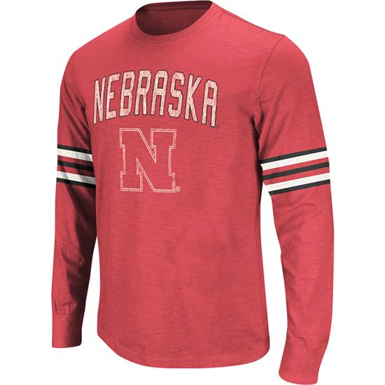 Nebraska Cornhuskers Red Tackle Long Sleeve Slub Knit T-Shirt